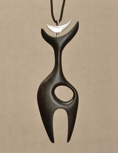 pendant/necklace: ebony, silver accent