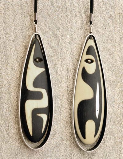"Pendant/Necklace two sided ""Spirit"" and ""Bear,"" ebony, walrus ivory, silver"