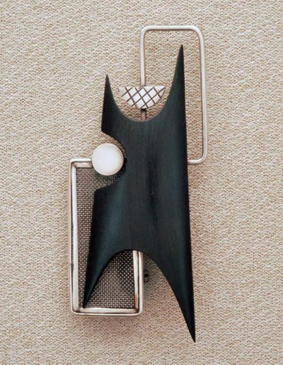 Pin: silver, ebony, steel