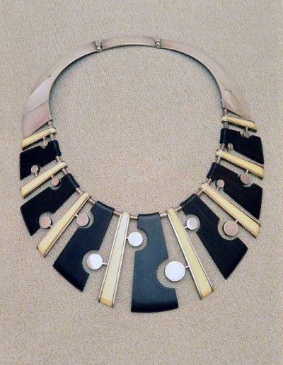 Necklace: 1956, silver, ebony, walrus-ivory