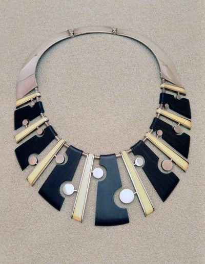 Necklace: 1956, silver, ebony, walrus-ivory