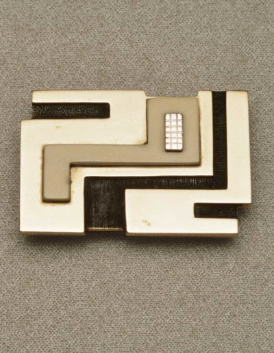 Buckle: brass, silver accent, walrus ivory