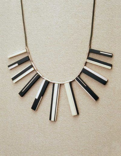 necklace: late 1960s, silver, ebony, walrus ivory