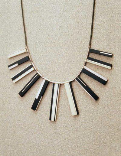 necklace: late 1960s, silver, ebony, walrus ivory