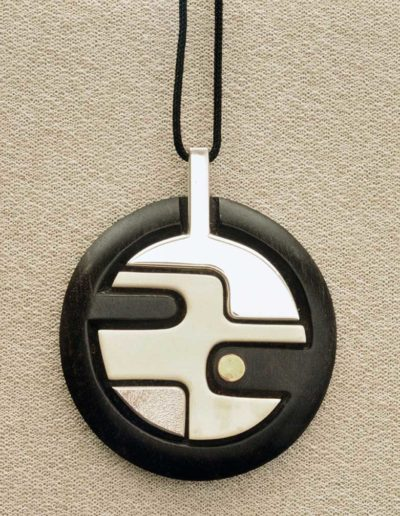 pendant/necklace: silver, ebony, walrus ivory