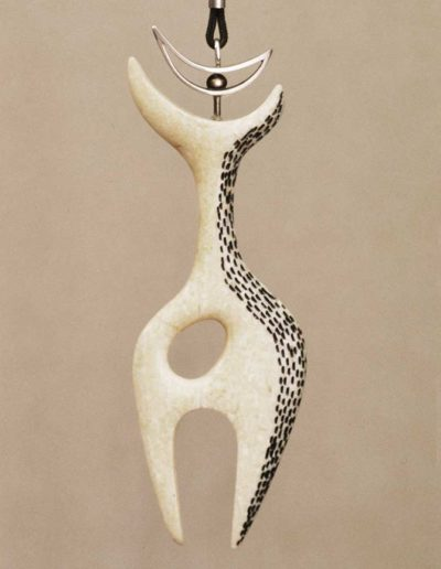 pendant/necklace: walrus-ivory, silver, cord
