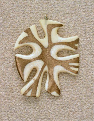 Pendant: walrus ivory, metallic resin #2