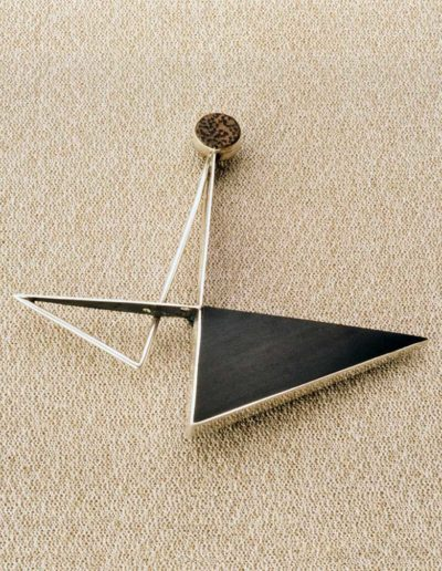Pin: ebony, silver, wood accents