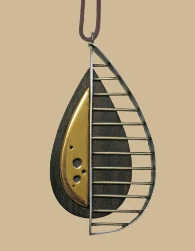 necklace: brass, ebony, silver, cord