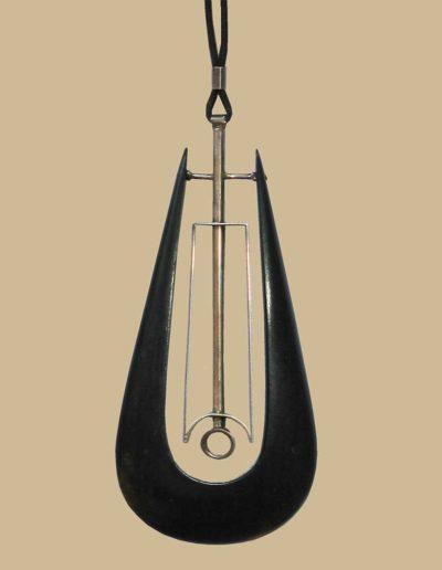necklace: ebony, silver, cord