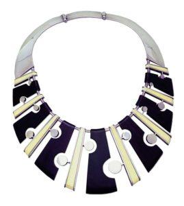byron wilson necklace, silver, ebony, walrus ivory, 1956